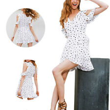 Vintage Irregular Summer Chic chiffon Women Cold shoulder polkadot Print Dress