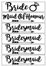 Set of 6 Hen party iron on vinyl  t shirt transfers bride bridesmaid