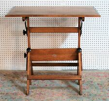 1960's ANCO BUILT cast iron hardware SOLID OAK and MAPLE DRAFTING TABLE vg