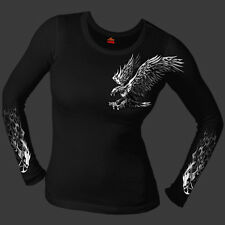 Ladies Junior Cut Tribal Eagle Thermal Long Sleeve Black T Shirt Size Small fnt