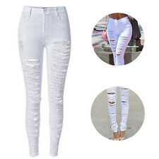 Hot Ripped Jeans Fashion Skinny Sexy Trousers High Waist Women Jeans Destroyed