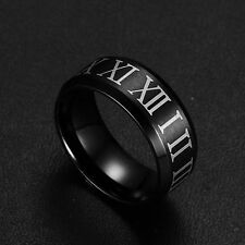 New Cool Men Fashion Jewelry Stainless Steel Black Roman Numerals 8mm Band Rings