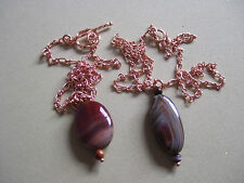 """17"""" or 18"""" Brown Agate Pendant Necklaces with Rose Gold Plated Chains"""