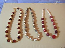 Shell/Faux Pearl & Agate or Coral Large Bead Threaded Necklaces