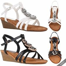 Womens Ladies Gladiator Ankle Strap T Bar Low Wedge Heel Summer Sandals Shoes