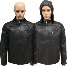 Mens New Leather Jacket Biker with Detachable Hood Black Size S M L PU Leather
