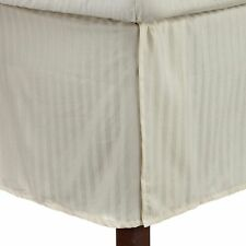 1 QTY Bed Skirt  Egyptian Cotton 1000 TC Drop 15 Inch Ivory Stripe