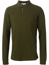 Burberry Brit Men Casual Check Placket Long Sleeve Polo Shirt Olive Green