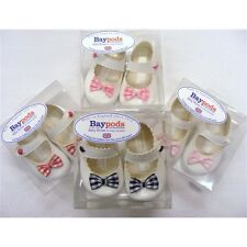 Bay Pods Baby Girls White Paton with various check Bow Pram Shoe 3 -18 Months