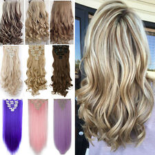Long NEW Clip in on Real as remy human Hair Extensions Extension Full Head Pk2