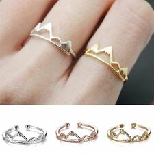 Women Cute Silve/Gold/Rose Gold Snow Mountain Peak Open Adjustable Ring Jewelry