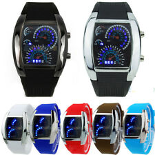 Mens RPM Turbo Blue Flash LED Sports Car Meter Dial Watch Wristwatch Gift Witty