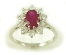 18ct White Gold 0.50cts Diamond & Ruby Cluster Ring ND026