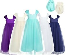 Flower Girl Dress Cap Kids Sleeve Big Bow Wedding Party Prom Gown Tulle Dresses
