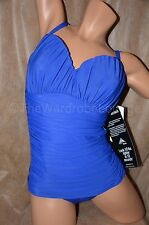 NWT Miraclesuit 1PC Rialto Ruched Shirring Bandeau Swim Suit Bright Blue