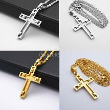 Stainless Steel Cross Crucifix Pendant Chain Necklace Lady Jewelry Gold Silver