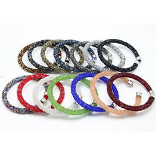 Women's Single Loop Crystal Rhinestone Bracelet Fashion Jewelry Bangle Cuff