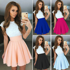 Fashion Womens Lace Short Sleeve Skater Pleated Skirt Cocktail Party Mini Dress