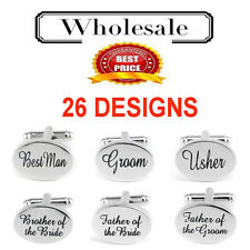 SILVER OVAL NES mens weddings cufflinks cuff link Groom best man usher page gift