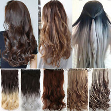 Real Natural Hair Extensions One Piece Clip in Thick Hair Extension New As Human
