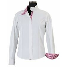 Equine Couture Girl's Kelsey Long Sleeve Show Shirt White/Pink Size 8 - 16 NEW