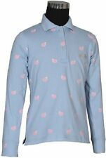 Equine Couture Childrens Whales Long Sleeve Polo Shirt Powder Blue S - XL