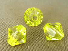 10mm 50/100/200/500pcs YELLOW FACETED ACRYLIC PLASTIC BICONE BEADS TY2247
