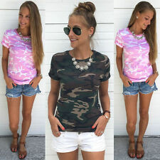 Summer Women Casual Short Sleeve Camouflage Crewneck T-Shirt Blouse Top Tee