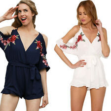 Summer New Vintage Women jumpsuit V neck Romper Flower Sexy Embroidery ruffle