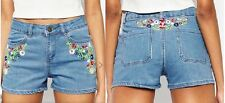 Womens Blue Shorts Ladies Denim Embroidered Jeans Pants Hotpants