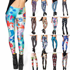 Womens Skinny Stretchy Leggings 3D Printed Pants Sports Yoga Gym Jogger Trousers
