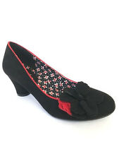 RUBY SHOO SAMIRA BLACK LOW HEEL COURT SHOE FLOWER DETAIL