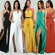 Summer Women Strapless Tube High Slit Jumpsuit Ladies Evening Party Clubwear
