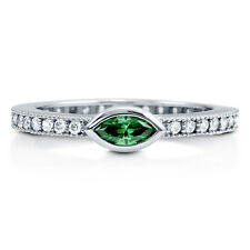 BERRICLE Sterling Silver Marquise Simulated Emerald CZ Solitaire Right Hand Ring