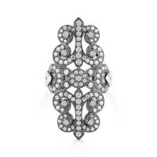 BERRICLE Silver Cubic Zirconia CZ Vintage Style Art Deco Filigree Cocktail Ring