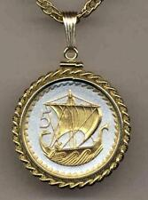"Cyprus 5 Mills ""Sailing Ship"" Handmade 24k Gold on Silver Coin Necklace"