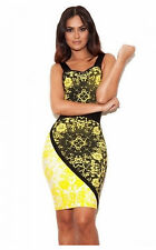 Auth House Of CB Celeb Boutique Size XS 6 Bandage Dress Yellow Black Bodycon