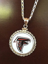 STERLING SILVER ROPE PENDANT W/ NFL ATLANTA FALCONS a SETTING JEWELRY GIFT