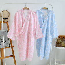 Womens Japanese Sakura Kimono Summer Cotton Yukata Haori Bathrobe 2 Colors