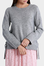 NEW Miss Shop Tie Side Slouch Knit Jumper Grey Marle