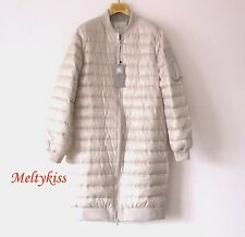 NWT ZARA WOMEN PEARL BEIGE LONG QUILTED DOWN LIGHTWEIGHT JACKET COAT Sz-M