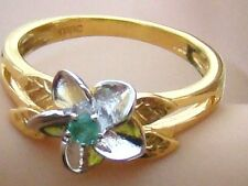 NEW, 925-SOLID-STERLING SILVER RING,WITH 9K GOLD OVERLAY & NATURAL EMERALD