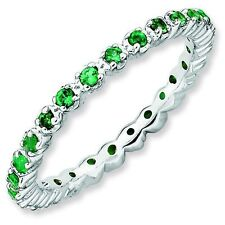 Emerald 2.25mm Prong Set Eternity Band Sterling Silver Stackable Ring