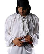 Mens Pirate Costume Shirt Captain Renaissance Faire Ruffled Frilly Lace Up Front