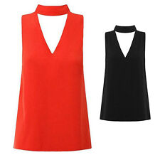 Shirt Blouse Womens High Neck Cut Out Hanging Neck V Neck New Sleeveless Plunge