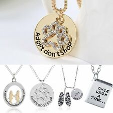 Women Silver Plated Crystal Rhinestone Letters Hollow Pendant Necklace Jewelry