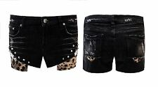 Womens Ladies Studded Denim Hotpants Leopard Print Shorts Jeans Pants