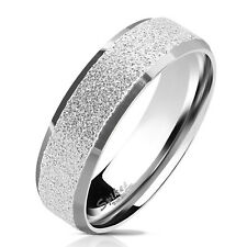 Finger Ring Stainless steel sand-blasted silver Size 5/6/7/8/9/10/11/12/13
