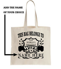 Personalised Tote Shopper Bag Shopping Birthday Gift Wife Present Add Name Gift
