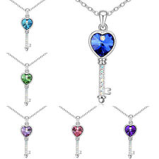 New Fashion Pendant Chain Crystal Jewelry Silver Plated Key Shaped Necklace Gift